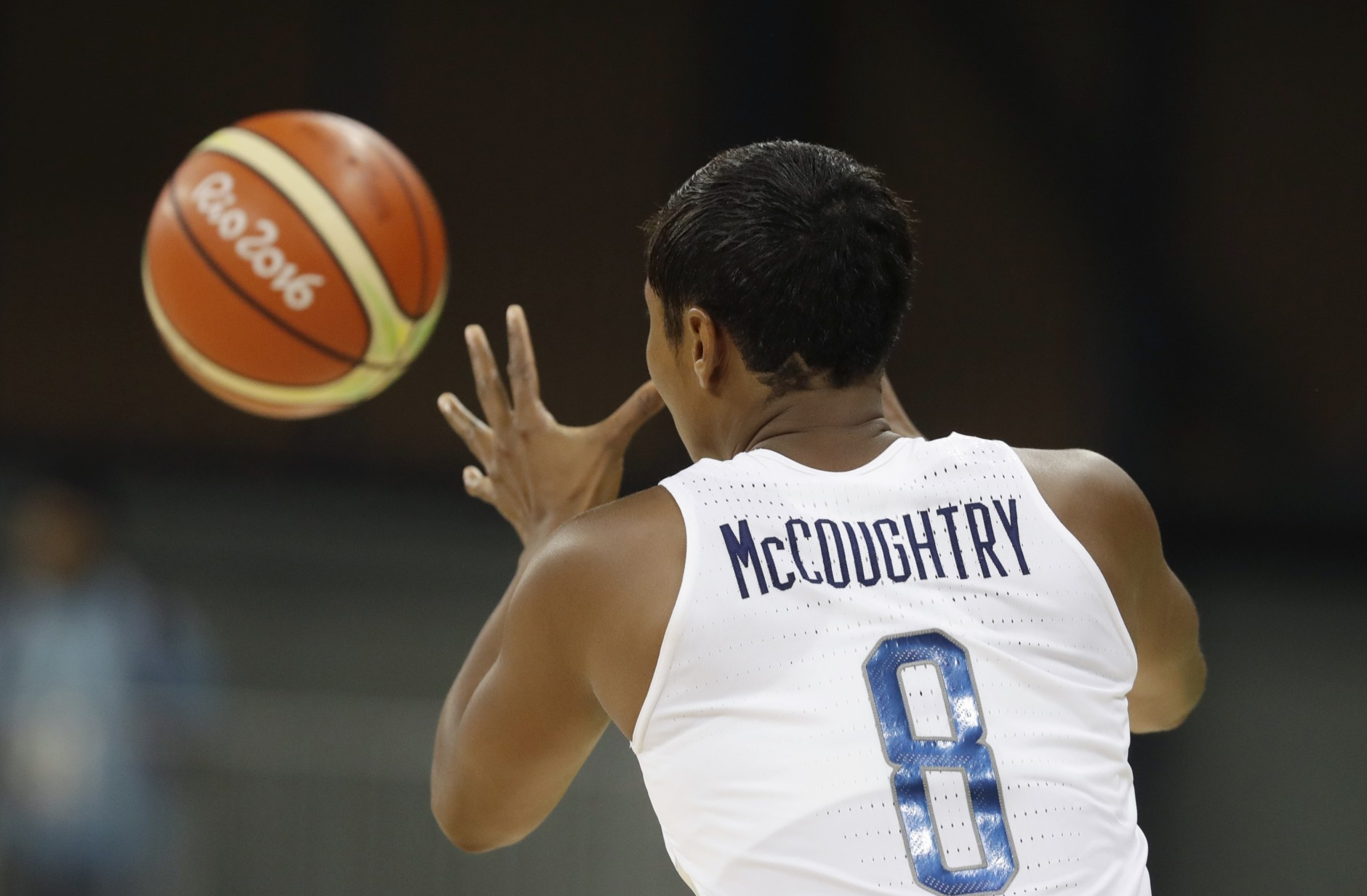 United States guard Angel McCoughtry sports a star and stripes cut into her hair during the second half of a women's basketball game against Serbia at the Youth Center at the 2016 Summer Olympics in Rio de Janeiro, Brazil, Wednesday, Aug. 10, 2016. The United States defeated Serbia 110-84. (AP Photo/Carlos Osorio)