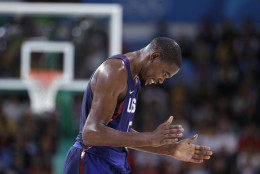 United States' Kevin Durant reacts during a basketball game against Australia at the 2016 Summer Olympics in Rio de Janeiro, Brazil, Wednesday, Aug. 10, 2016. (AP Photo/Charlie Neibergall)