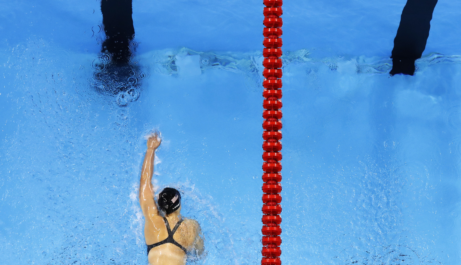 United States' Katie Ledecky heads to the finish in the 4 x 200m freestyle relay finals during to the swimming competitions at the 2016 Summer Olympics, Thursday, Aug. 11, 2016, in Rio de Janeiro, Brazil. (AP Photo/Morry Gash)