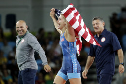 United States' Helen Louise Maroulis celebrates after beating Japan's Saori Yoshida for the gold during the women's wrestling freestyle 53-kg competition at the 2016 Summer Olympics in Rio de Janeiro, Brazil, Thursday, Aug. 18, 2016. (AP Photo/Charlie Riedel)