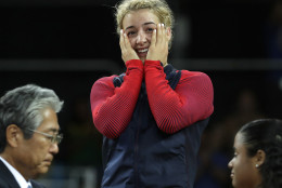 Gold medalist from the United States' Helen Louise Maroulis stands on the podium after winning the women's wrestling freestyle 53-kg competition at the 2016 Summer Olympics in Rio de Janeiro, Brazil, Thursday, Aug. 18, 2016. (AP Photo/Charlie Riedel)