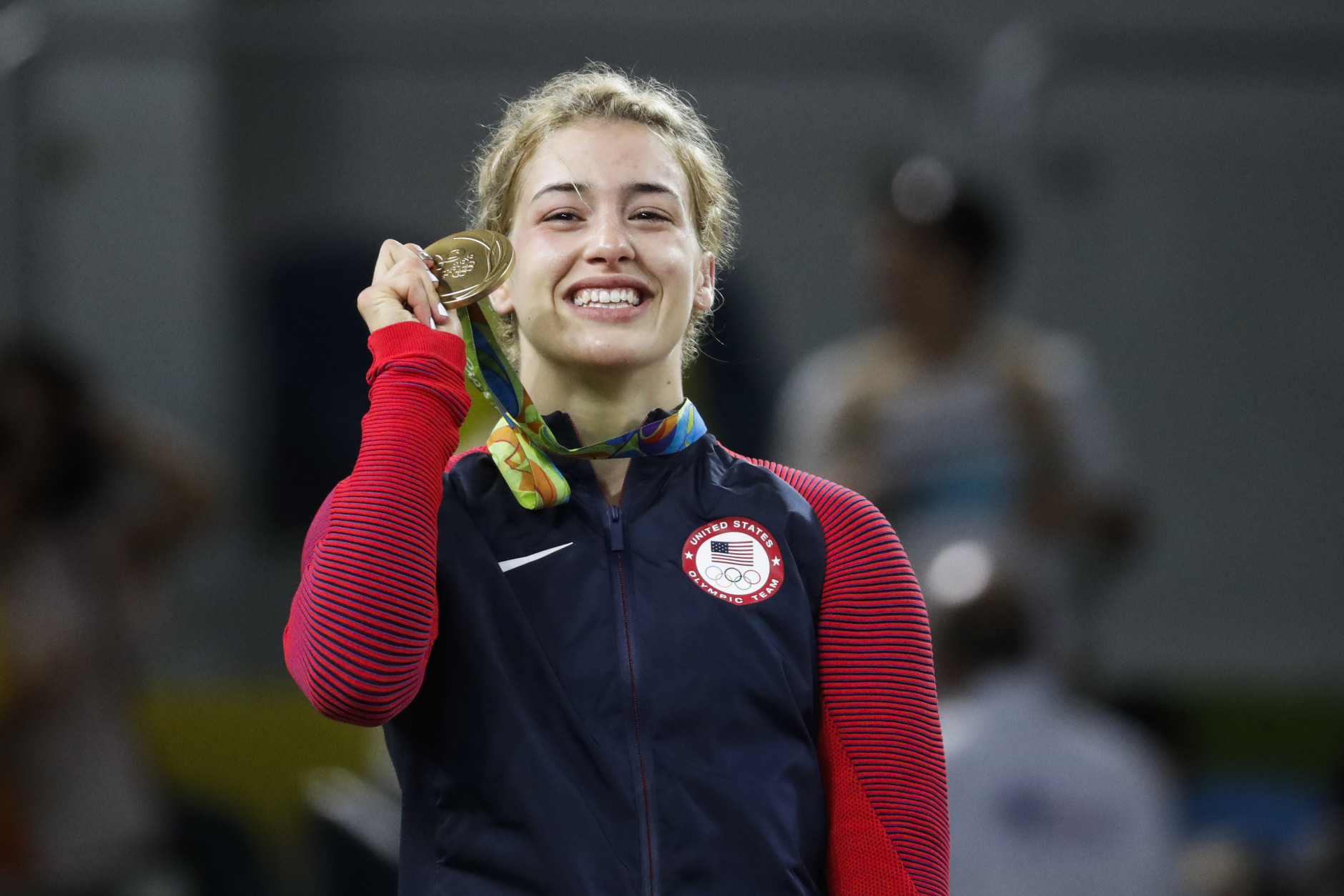 United States' Helen Louise Maroulis reacts during the winners ceremony for the women's 53-kg freestyle wrestling competition at the 2016 Summer Olympics in Rio de Janeiro, Brazil, Thursday, Aug. 18, 2016. (AP Photo/Markus Schreiber)