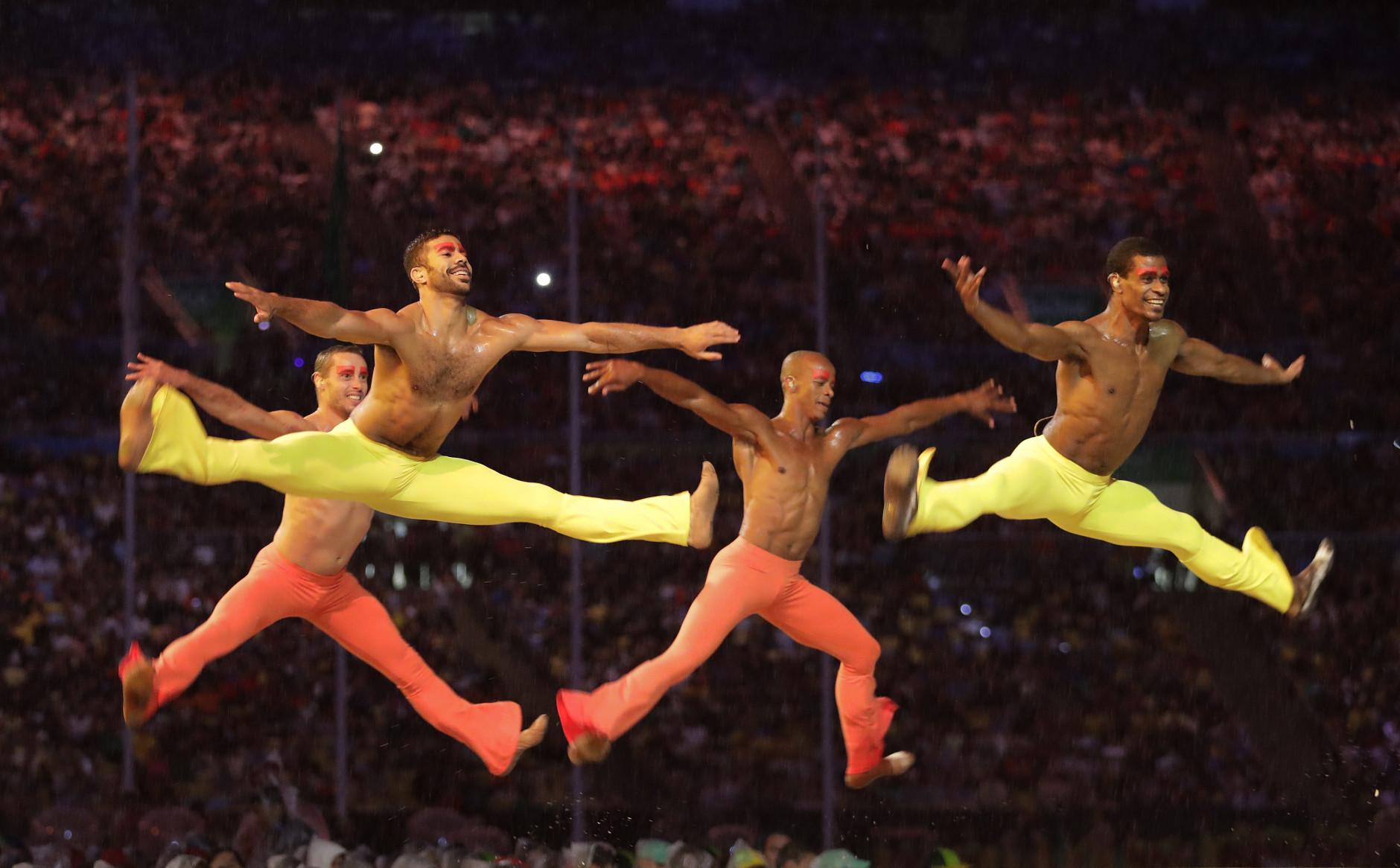 Dancers perform during the closing ceremony in the Maracana stadium at the 2016 Summer Olympics in Rio de Janeiro, Brazil, Sunday, Aug. 21, 2016. (AP Photo/David Goldman)