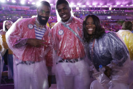 Athletes from the United States pose during the closing ceremony in the Maracana stadium at the 2016 Summer Olympics in Rio de Janeiro, Brazil, Sunday, Aug. 21, 2016. (AP Photo/Matt Dunham)