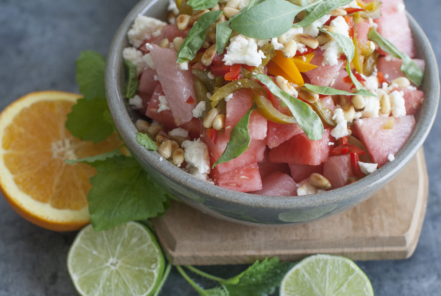 This June 30, 2014 photo shows spicy watermelon salad with feta and basil in Concord, N.H. (AP Photo/Matthew Mead)