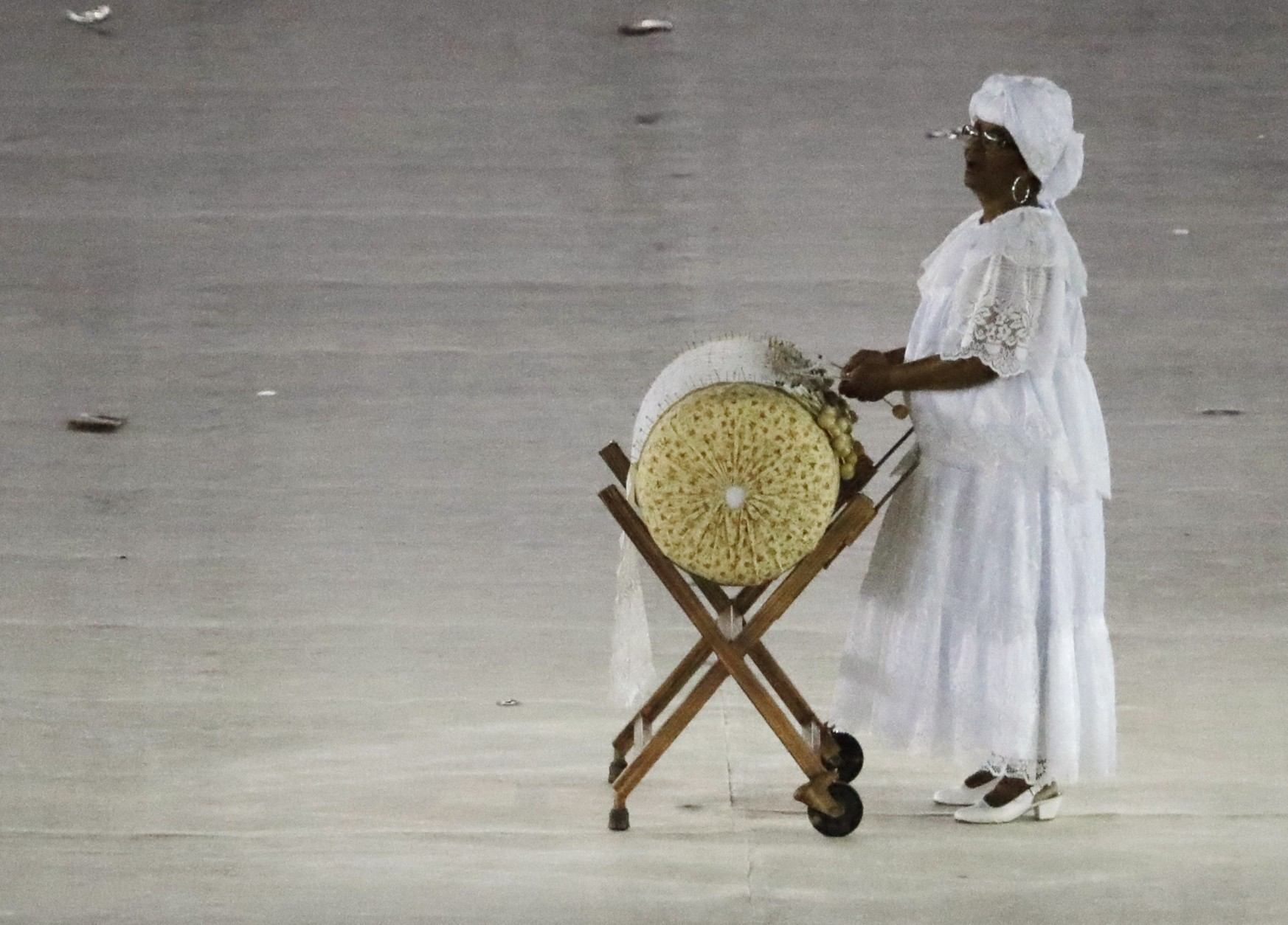 A musician performs during the closing ceremony in the Maracana stadium at the 2016 Summer Olympics in Rio de Janeiro, Brazil, Sunday, Aug. 21, 2016. (AP Photo/Charlie Riedel)