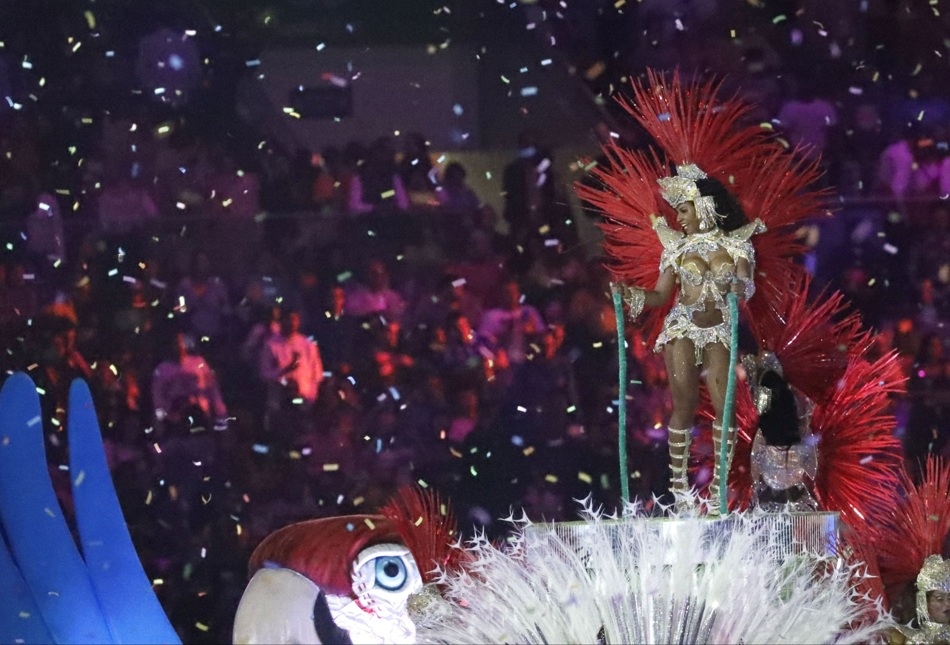 Plumed dancers appear as part of the closing ceremony in the Maracana stadium at the 2016 Summer Olympics in Rio de Janeiro, Brazil, Sunday, Aug. 21, 2016. (AP Photo/Mark Humphrey)