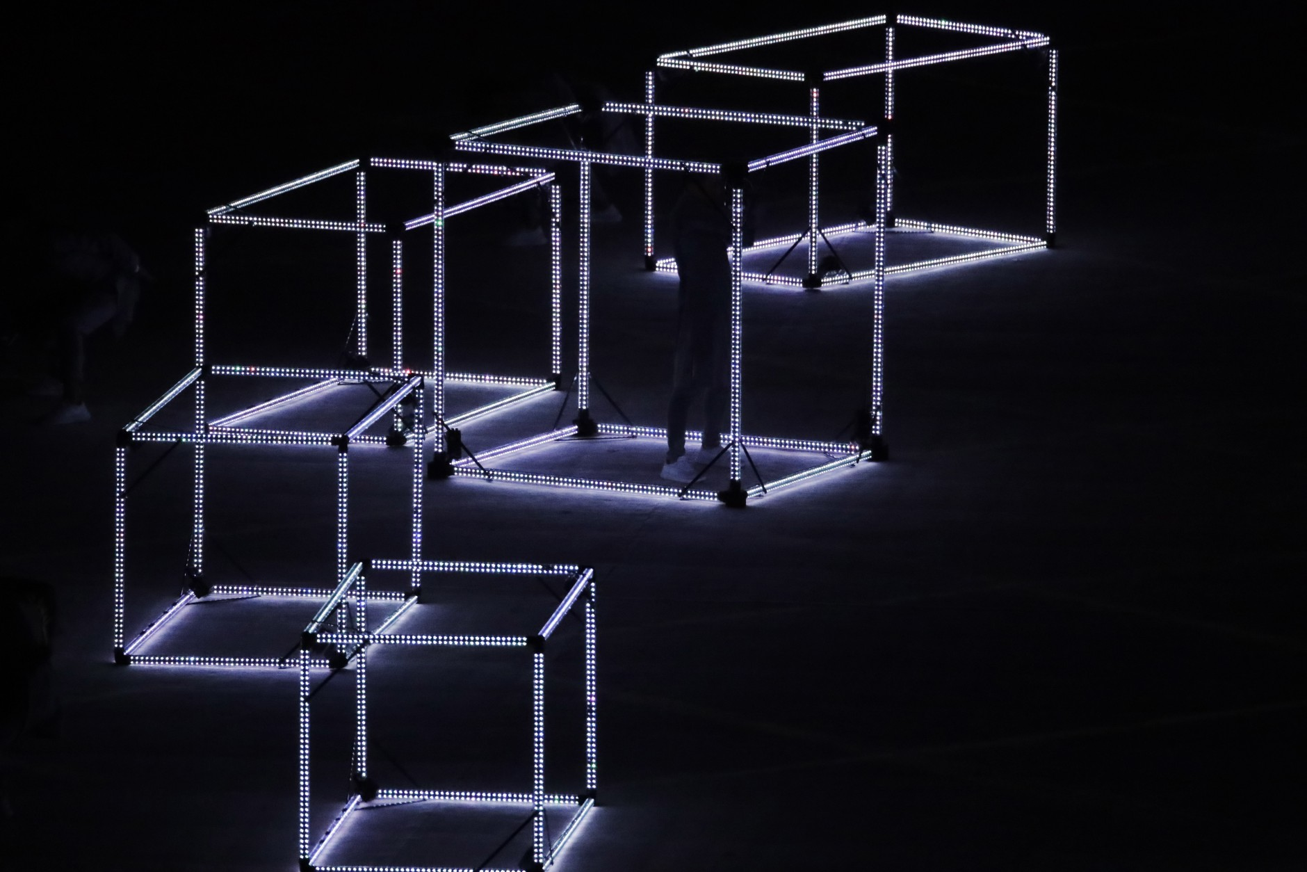 Illuminated cubes are featured during the closing ceremony in the Maracana stadium at the 2016 Summer Olympics in Rio de Janeiro, Brazil, Sunday, Aug. 21, 2016. (AP Photo/Charlie Riedel)