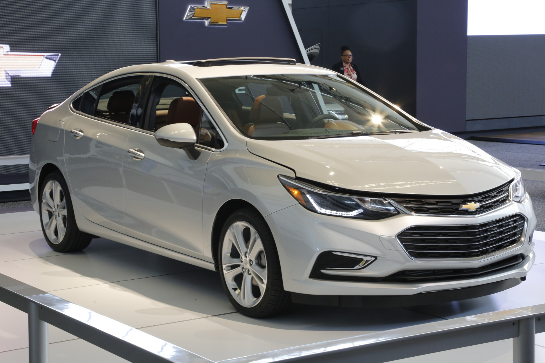 FILE - In this Feb. 11, 2016 photo, a  2016 Chevrolet Cruze is on display at the Pittsburgh International Auto Show in Pittsburgh. With 153 horsepower, the 2016 Cruze is more powerful than its predecessor.  .(AP Photo/Gene J. Puskar)