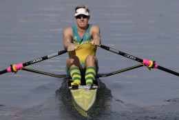 CAPTION CORRECTS THE NAME - Australia's Rhys Grant competes in the Men's single sculls heats in Lagoa during the 2016 Summer Olympics in Rio de Janeiro, Brazil, Saturday, Aug. 6, 2016. (AP Photo/Luca Bruno)