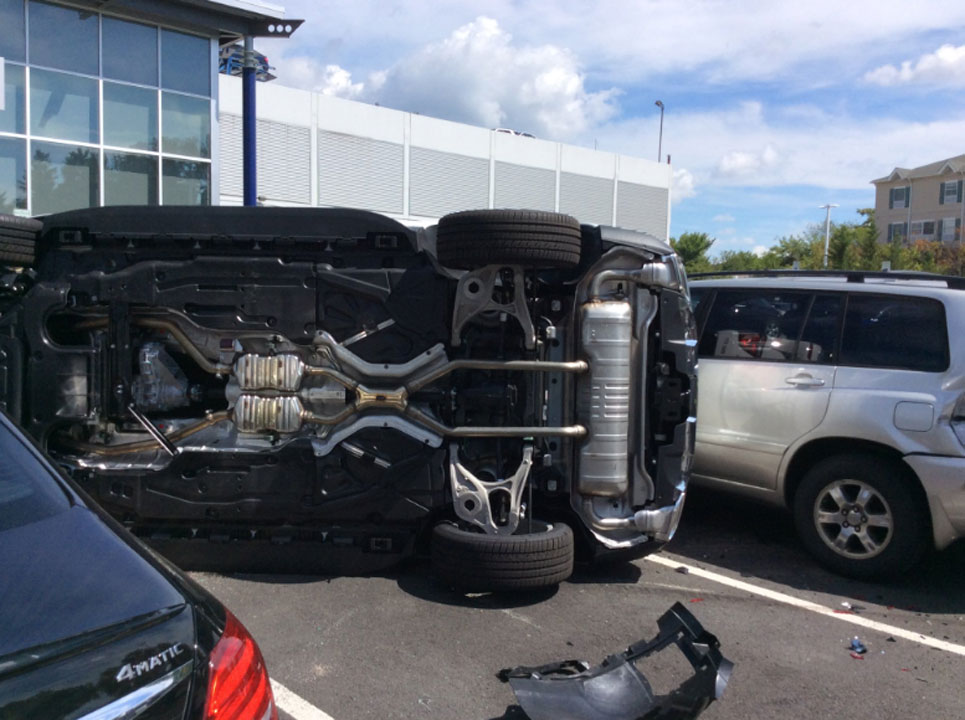 Woman crashes flips suv during test drive at mercedes for Mercedes benz of arlington