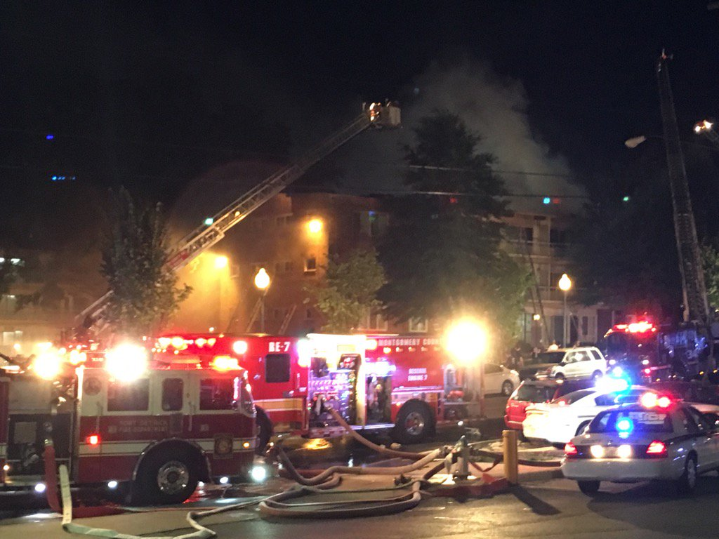 A Piney Branch Road apartment was engulfed in flames in a blast Wednesday night in Silver Spring, Md. Montgomery County Fire and Rescue Service released recordings of 911 calls made during the fire Friday. (WTOP/Keara Dowd)