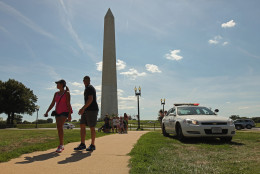 WASHINGTON, DC - AUGUST 23:  U.S. Park Police work to keep people away from the area surrounding the Washington Monument after a 5.8 magnitude earthquake struck the east coast August 23, 2011 in Washington, DC. Police officers said that unidentified material had fallen off the Washington Monument as a result of the earthquake. All the monuments and buildings along the National Mall have been evacuated and closed.  (Photo by Chip Somodevilla/Getty Images)