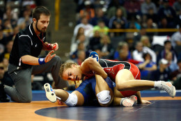 IOWA CITY, IOWA - APRIL 10:  Helen Maroulis and Sharon Jacobson compete during their Women's 53kg challenge match on day 2 of the 2016 U.S. Olympic Team Wrestling Trials at Carver-Hawkeye Arena on April 10, 2016 in Iowa City, Iowa.  (Photo by Jamie Squire/Getty Images)