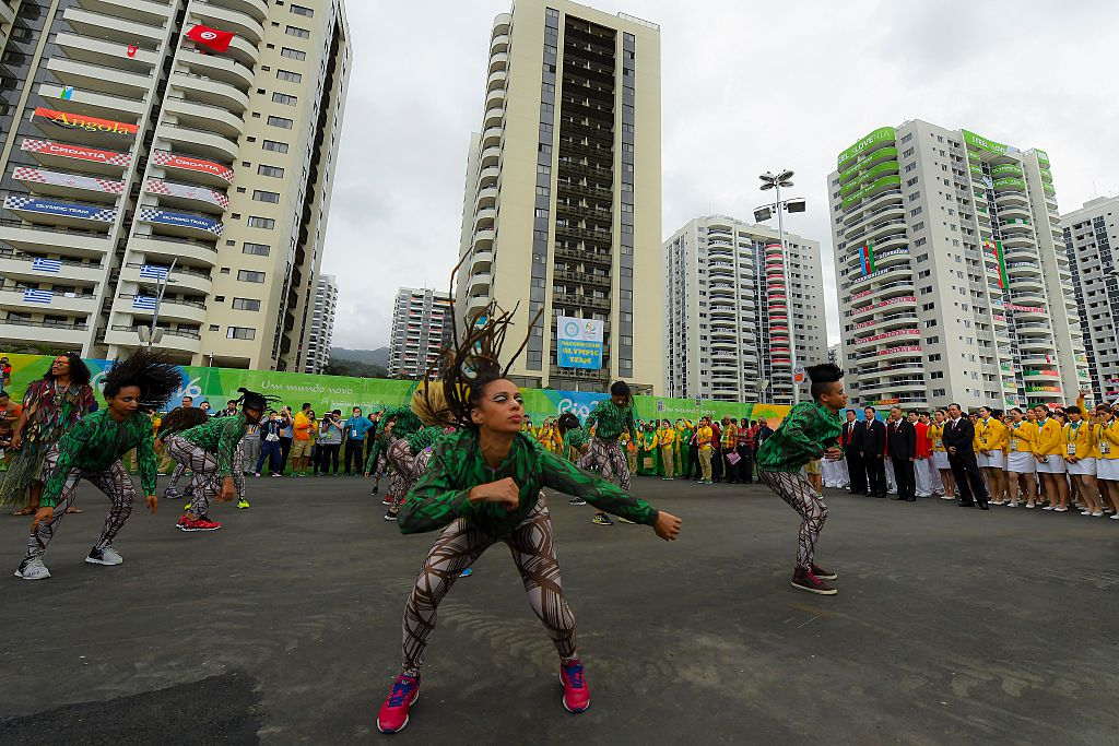 RIO DE JANEIRO, BRAZIL - AUGUST 03:  Team People's Republic of China athletes for the Rio 2016 Olympic Games attend their welcome ceremony at the Athletes village on August 3, 2016 in Rio de Janeiro, Brazil.  (Photo by David Ramos/Getty Images)