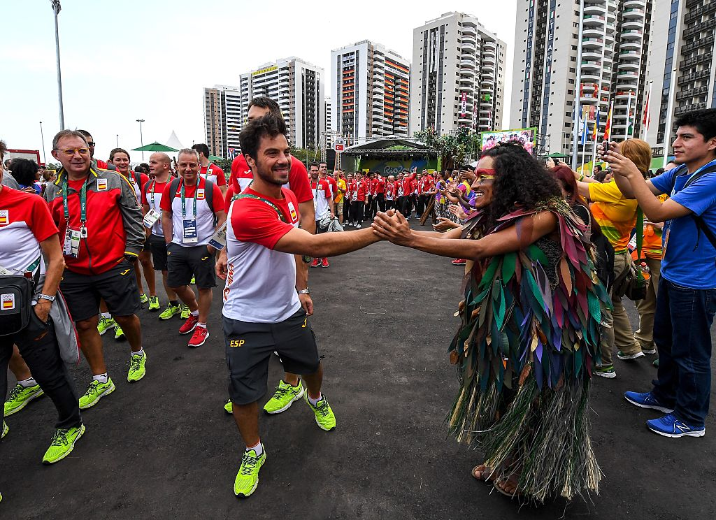RIO DE JANEIRO, BRAZIL - AUGUST 03:  Team Spain athletes for the Rio 2016 Olympic Games attend their welcome ceremony at the Athletes village on August 3, 2016 in Rio de Janeiro, Brazil.  (Photo by David Ramos/Getty Images)
