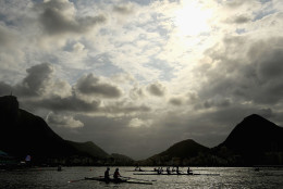 RIO DE JANEIRO, BRAZIL - AUGUST 03:  Rowers practise at Lagoa Rodrigo de Freitas on August 3, 2016 in Rio de Janeiro, Brazil.  (Photo by Quinn Rooney/Getty Images)