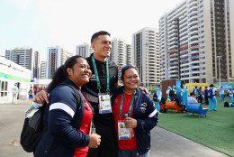 RIO DE JANEIRO, BRAZIL - AUGUST 03:  New Zealand Rugby player Sonny Bill Williams meets fans at the Olympic Village on August 3, 2016 in Rio de Janeiro, Brazil.  (Photo by Ryan Pierse/Getty Images)