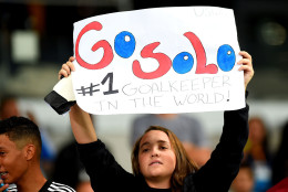 BELO HORIZONTE, BRAZIL - AUGUST 03: A fan of the United States holds up a sign for Hope Solo during the Women's Group G first round match between the United States and New Zealand during the Rio 2016 Olympic Games at Mineirao Stadium on August 3, 2016 in Belo Horizonte, Brazil.  (Photo by Pedro Vilela/Getty Images)