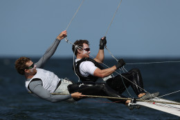 RIO DE JANEIRO, BRAZIL - AUGUST 04:  Joe Morris and Thomas Barrows of USA in action on their 49er class skiff during practice ahead of the Rio 2016 Olympic Games at the Marina da Gloria on August 4, 2016 in Rio de Janeiro, Brazil.  (Photo by Clive Mason/Getty Images)