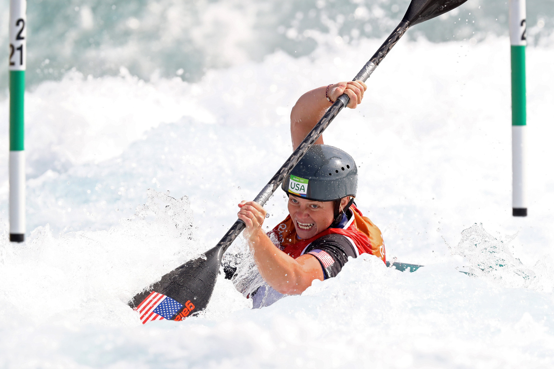 RIO DE JANEIRO, BRAZIL - AUGUST 08:  Ashley Nee of the United States competes during the Women's Kayak Slalom (K1) heats on Day 3 of the Rio 2016 Olympic Games at the Whitewater Stadium on August 8, 2016 in Rio de Janeiro, Brazil.  (Photo by Alexander Hassenstein/Getty Images)