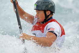 RIO DE JANEIRO, BRAZIL - AUGUST 08:  Ashley Nee of the United States competes during the Women's Kayak Slalom (K1) heats on Day 3 of the Rio 2016 Olympic Games at the Whitewater Stadium on August 8, 2016 in Rio de Janeiro, Brazil.  (Photo by Mark Kolbe/Getty Images)