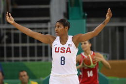 United States guard Angel McCoughtry in the Women's Basketball Preliminary Round Group B match between China and Spain on Day 5 of the Rio 2016 Olympic Games at Youth Arena on August 10, 2016 in Rio de Janeiro, Brazil.