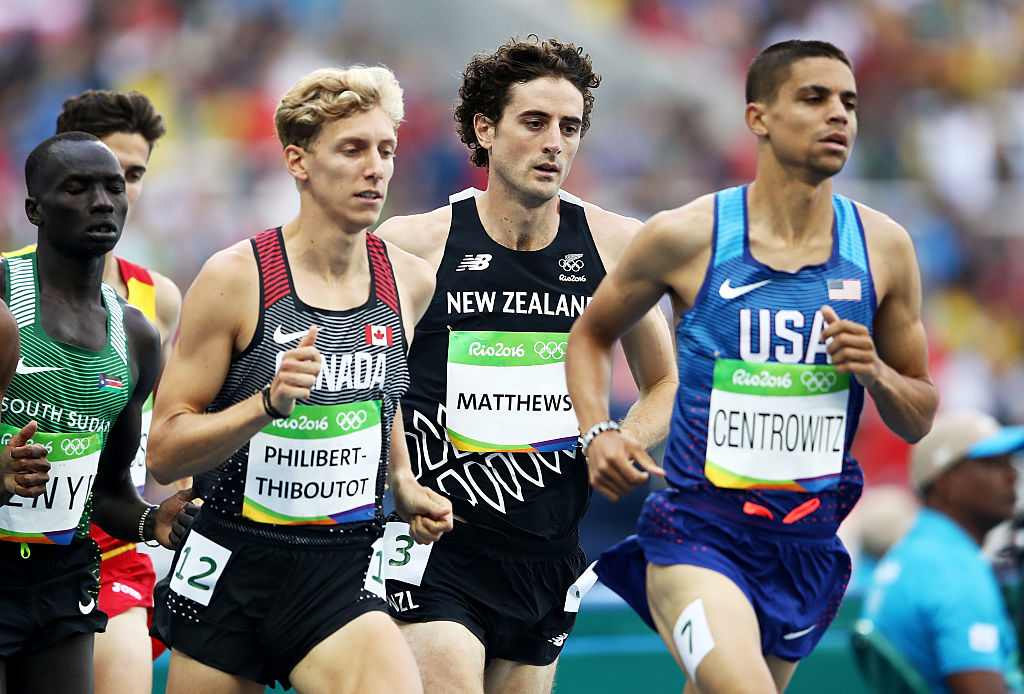 RIO DE JANEIRO, BRAZIL - AUGUST 16: Charles Philibert-Thiboutot of Canada, Julian Matthews of New Zealand and Matthew Centrowitz of the United States compete in the Men's 1500 metres first round on Day 11 of the Rio 2016 Olympic Games at the Olympic Stadium on August 16, 2016 in Rio de Janeiro, Brazil. (Photo by Cameron Spencer/Getty Images)