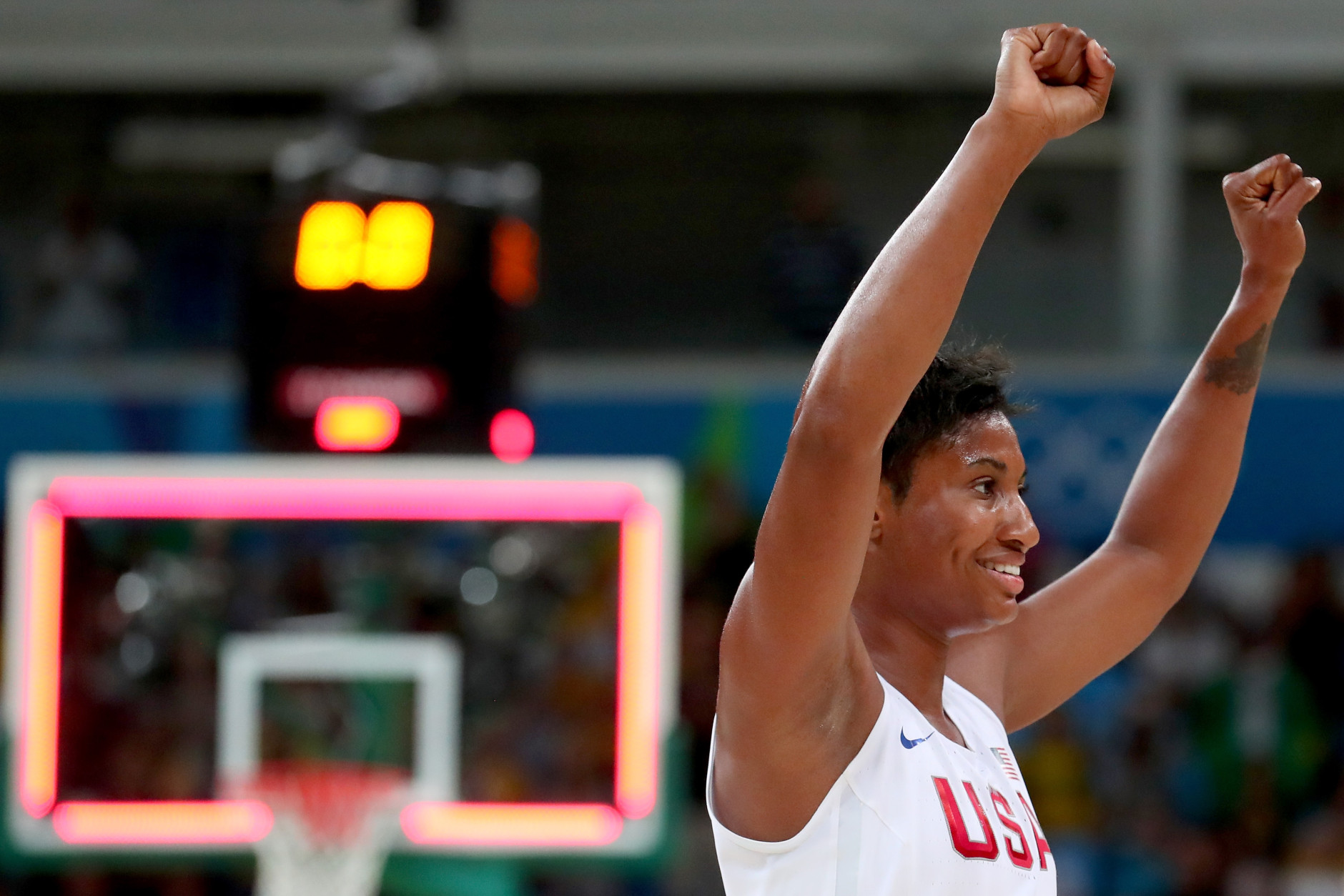RIO DE JANEIRO, BRAZIL - AUGUST 20:  Angel Mccoughtry #8 of United States celebrates winning the Women's Gold Medal Game between United States and Spain on Day 15 of the Rio 2016 Olympic Games at Carioca Arena 1 on August 20, 2016 in Rio de Janeiro, Brazil.  (Photo by Tom Pennington/Getty Images)