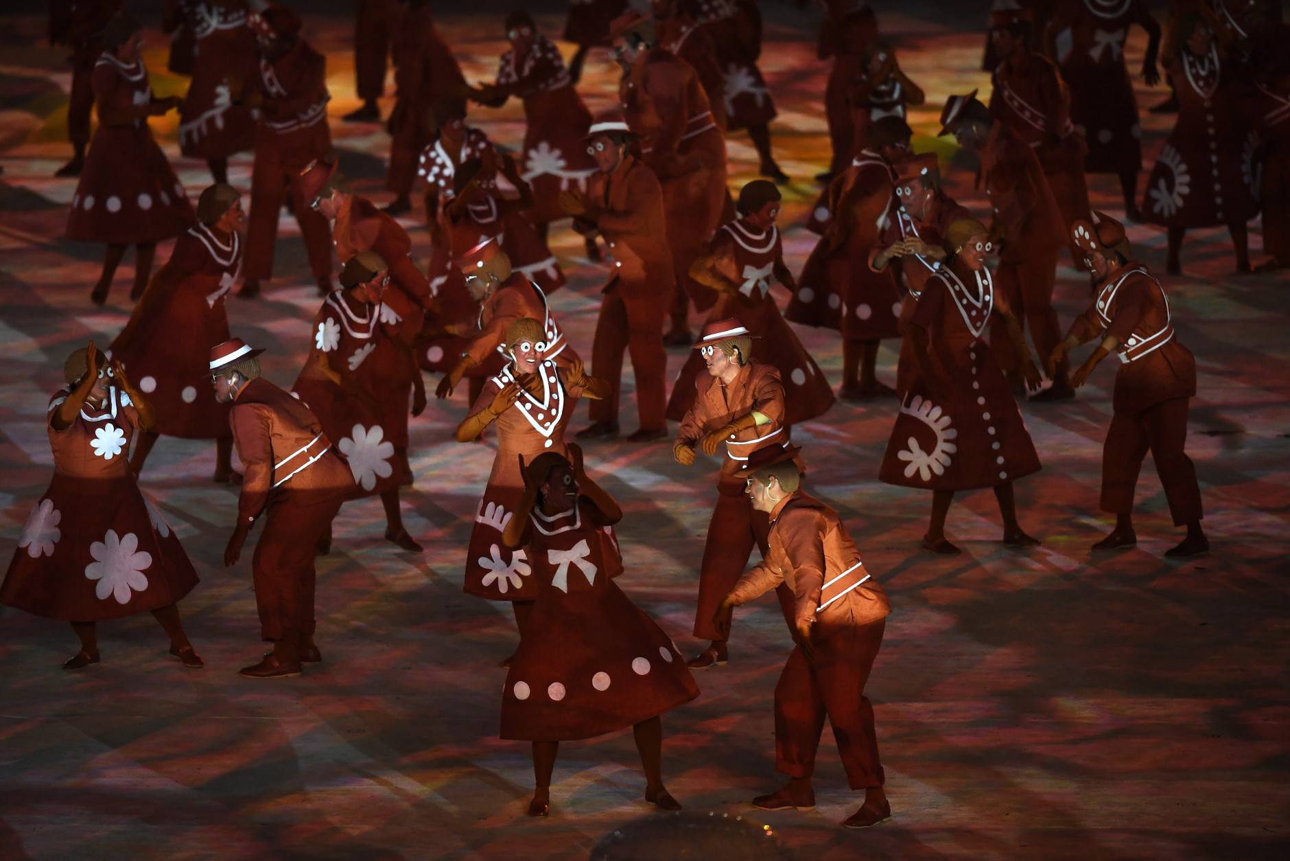 RIO DE JANEIRO, BRAZIL - AUGUST 21:  Dancers  perform in the 'Bringing Clay to Life' segment during the Closing Ceremony on Day 16 of the Rio 2016 Olympic Games at Maracana Stadium on August 21, 2016 in Rio de Janeiro, Brazil.  (Photo by Pascal Le Segretain/Getty Images)