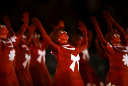 RIO DE JANEIRO, BRAZIL - AUGUST 21: Dancers perform during the Closing Ceremony on Day 16 of the Rio 2016 Olympic Games at Maracana Stadium on August 21, 2016 in Rio de Janeiro, Brazil.  (Photo by Ezra Shaw/Getty Images)
