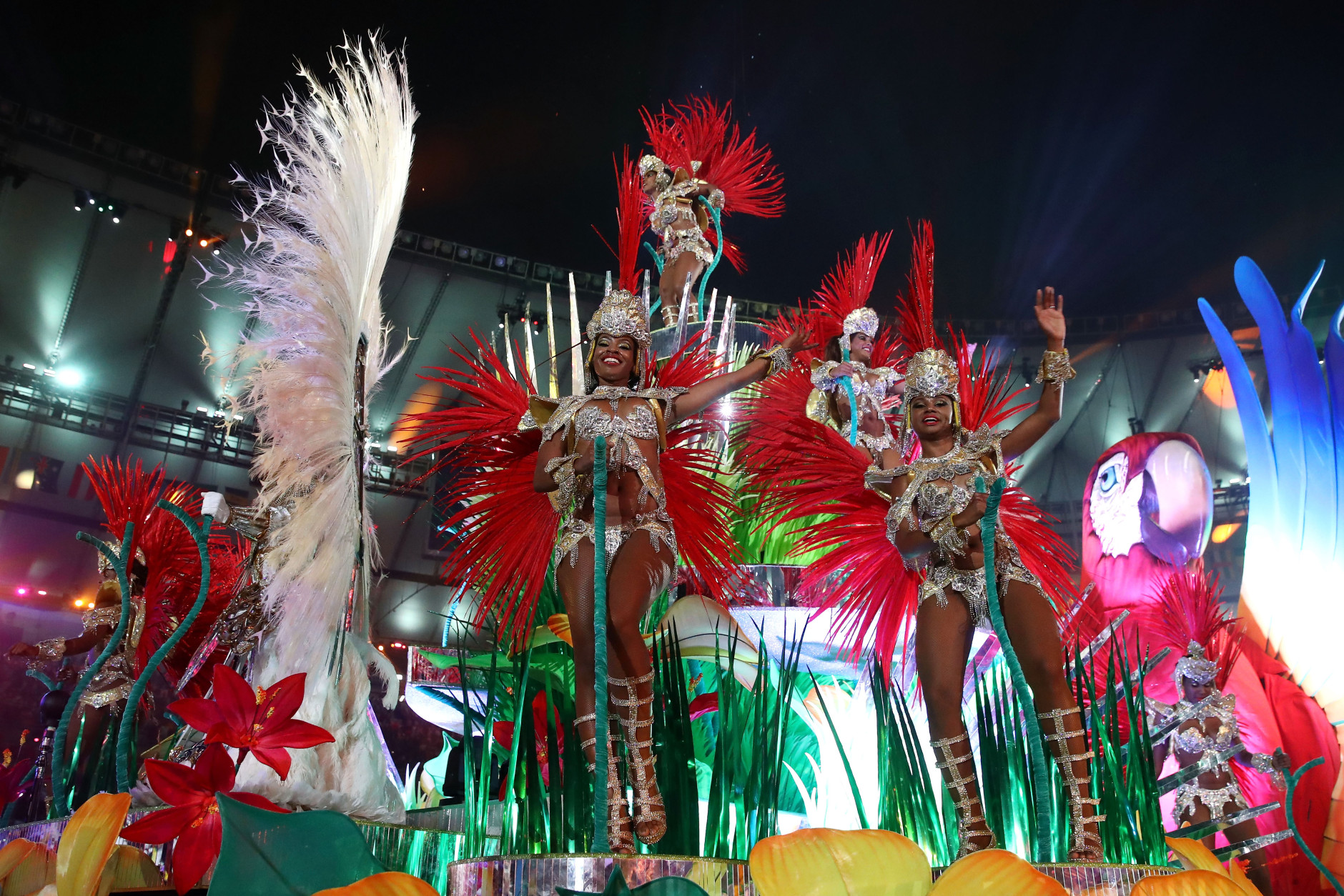 RIO DE JANEIRO, BRAZIL - AUGUST 21:  Carnival dancers perform during the Closing Ceremony on Day 16 of the Rio 2016 Olympic Games at Maracana Stadium on August 21, 2016 in Rio de Janeiro, Brazil.  (Photo by Cameron Spencer/Getty Images)