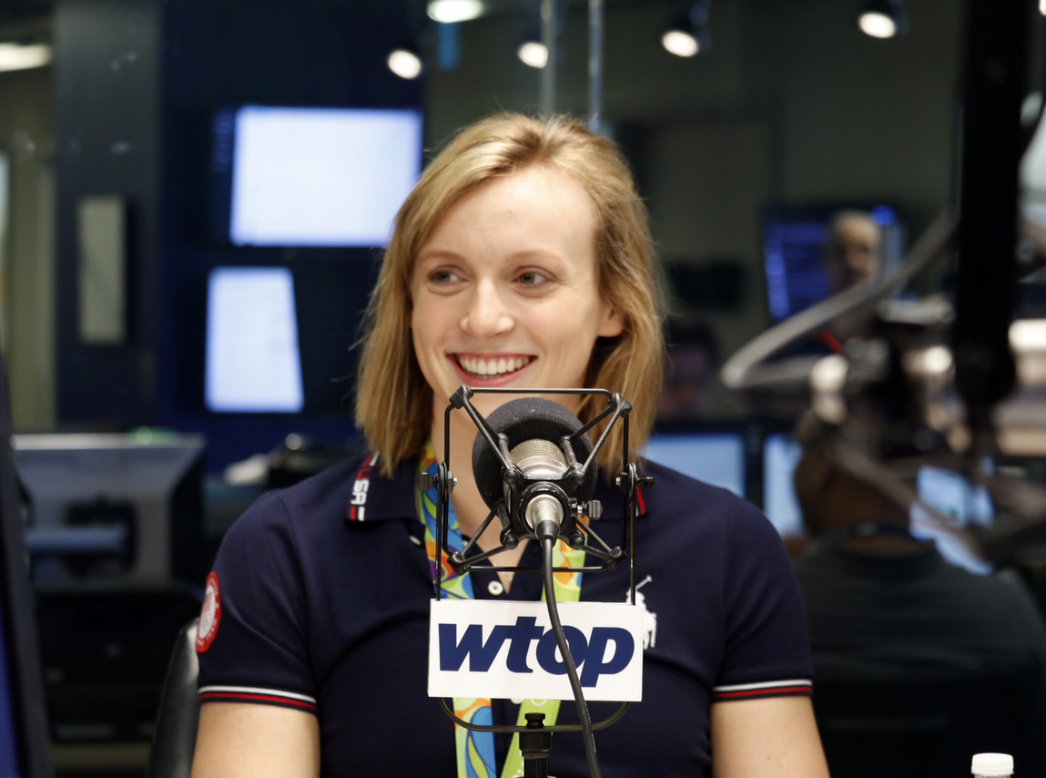 Gold-medal swimmer Katie Ledecky speaks to WTOP live on Monday, Aug. 29, 2016 about her exeperiences in Rio and what new goals she'll set for herself as she heads off to Stanford University this fall. (WTOP/Kate Ryan)