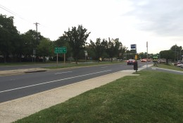 Layhill Road at Bel Pre Road, where a pedestrian was stuck and killed by a car Thursday night. (WTOP/Dennis Foley)