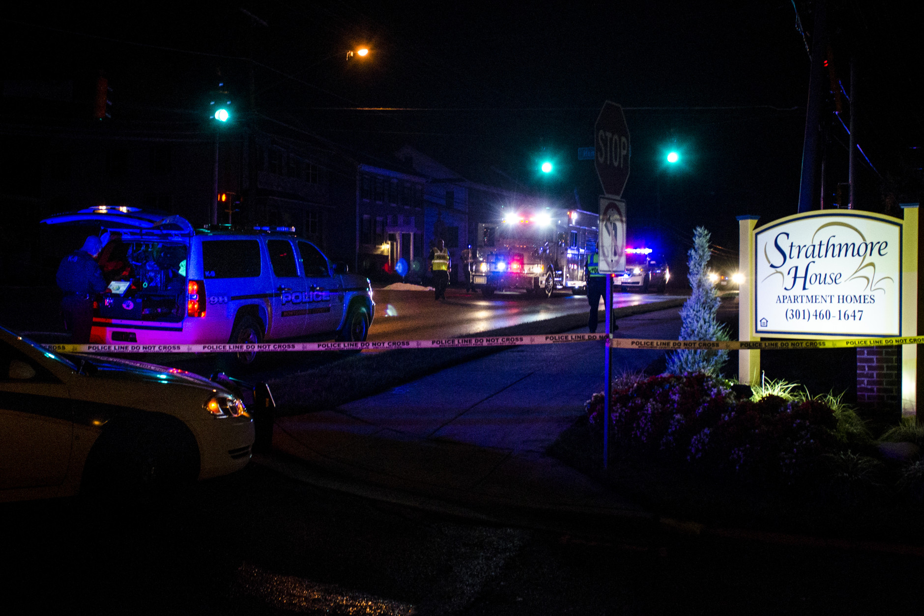 A hit-and-run accident killed a pedestrian around Layhill Road and Bel Pre Road in Silver Spring, Maryland, Thursday night. Police say the pedestrian was hit and dragged more than a mile to Homecrest Road. (Wesley Brown)