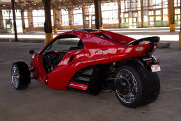 """Reverse trikes with two wheels in front have gained in popularity in the past 10-15 years. """"A trike, if you remember [from childhood], can easily tip over,"""" said Tanom Motors co-owner David Young. """"A reverse trike is very stable – you can slide it - and it'd be off the road but you'd really have to hit something to get airborne to tip it over."""" (Courtesy Tanom Motors)"""