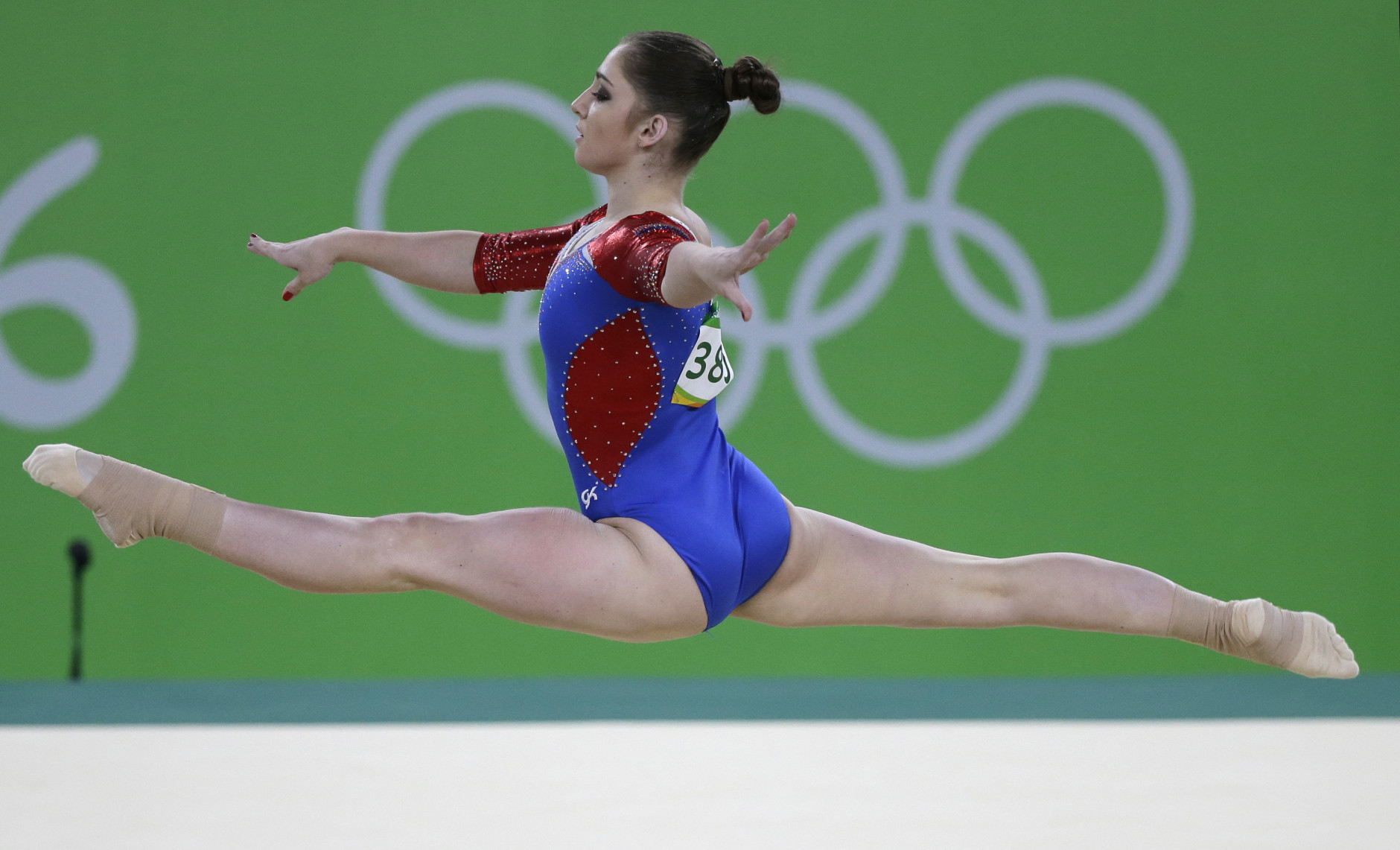 Russia's Aliya Mustafina performs on the floor during the artistic gymnastics women's qualification at the 2016 Summer Olympics in Rio de Janeiro, Brazil, Sunday, Aug. 7, 2016. (AP Photo/Rebecca Blackwell)
