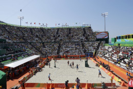 An overall view of the Olympic beach volleyball venue as Brazil plays Canada during a men's beach volleyball match at the 2016 Summer Olympics in Rio de Janeiro, Brazil, Saturday, Aug. 6, 2016. (AP Photo/Marcio Jose Sanchez)