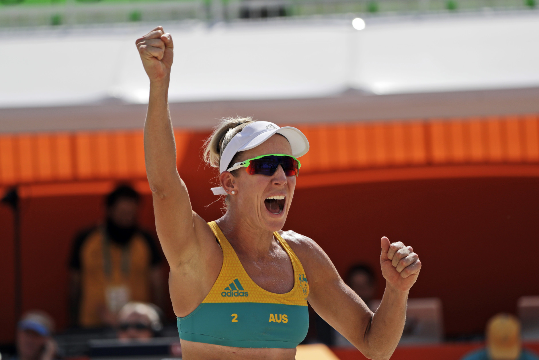 Australia's Louise Bawden celebrates after winning a point over Costa Rica during a women's beach volleyball match at the 2016 Summer Olympics in Rio de Janeiro, Brazil, Saturday, Aug. 6, 2016. (AP Photo/Marcio Jose Sanchez)