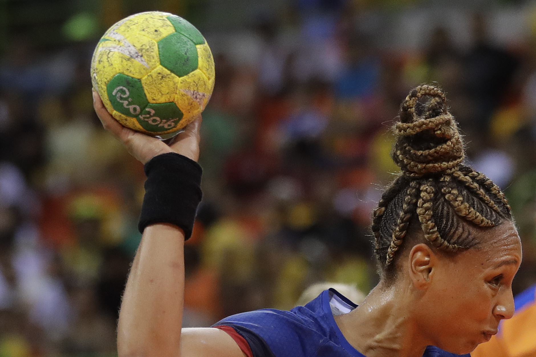 France's Beatrice Edwige tries to score during the women's preliminary handball match between Netherlands and France at the 2016 Summer Olympics in Rio de Janeiro, Brazil, Saturday, Aug. 6, 2016. (AP Photo/Matthias Schrader)