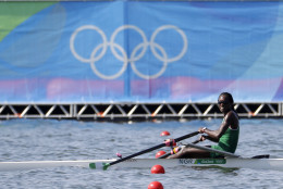 Chierika Ukogu, of Nigeria, competes in the women's single scull heat during the 2016 Summer Olympics in Rio de Janeiro, Brazil, Saturday, Aug. 6, 2016. (AP Photo/Andre Penner)