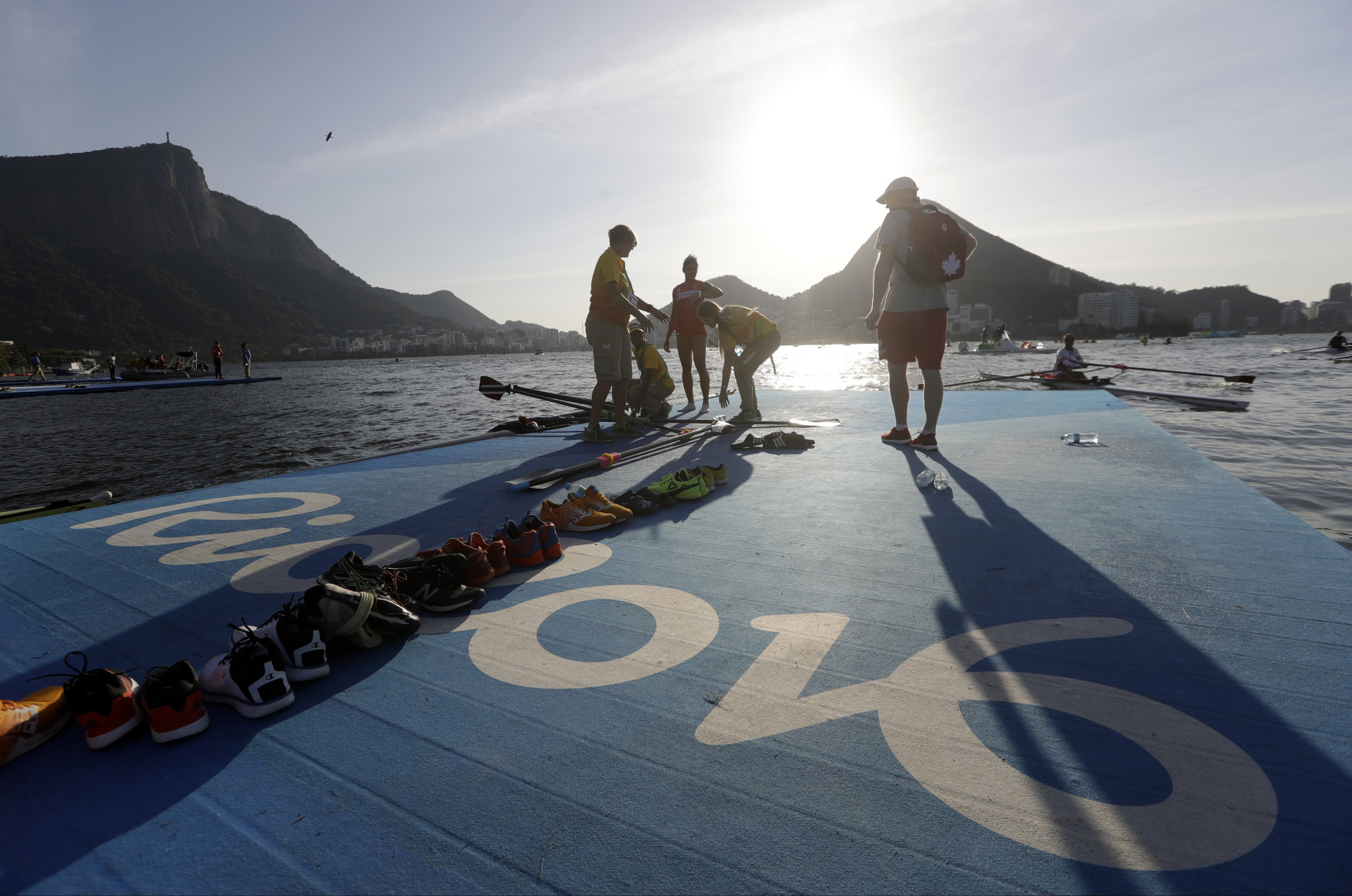 Canada rowers return to shore after practice during the 2016 Summer Olympics in Rio de Janeiro, Brazil, Sunday, Aug. 7, 2016. (AP Photo/Luca Bruno)