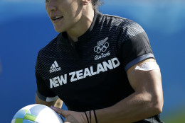 New Zealand's Portia Woodman scores a try during the women's rugby sevens match between New Zealand and Kenya at the Summer Olympics in Rio de Janeiro, Brazil, Saturday, Aug. 6, 2016. (AP Photo/Themba Hadebe)