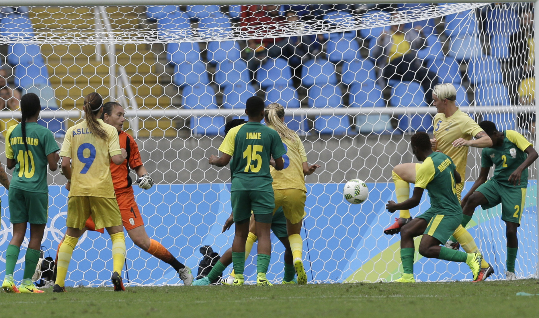 Sweden's Nilla Fischer scores her team's first goal during the opening match of the Women's Olympic Football Tournament between Sweden and South Africa at the Rio Olympic Stadium in Rio de Janeiro, Brazil, Wednesday, Aug. 3, 2016. (AP Photo/Leo Correa)