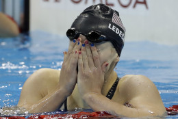 United States' Katie Ledecky wins the gold medal in the women's 200-meter freestyle during the swimming competitions at the 2016 Summer Olympics, Tuesday, Aug. 9, 2016, in Rio de Janeiro, Brazil. (AP Photo/Matt Slocum)