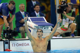 United States' Michael Phelps celebrates winning the gold medal in the men's 200-meter butterfly during the swimming competitions at the 2016 Summer Olympics, Tuesday, Aug. 9, 2016, in Rio de Janeiro, Brazil. (AP Photo/Matt Slocum)