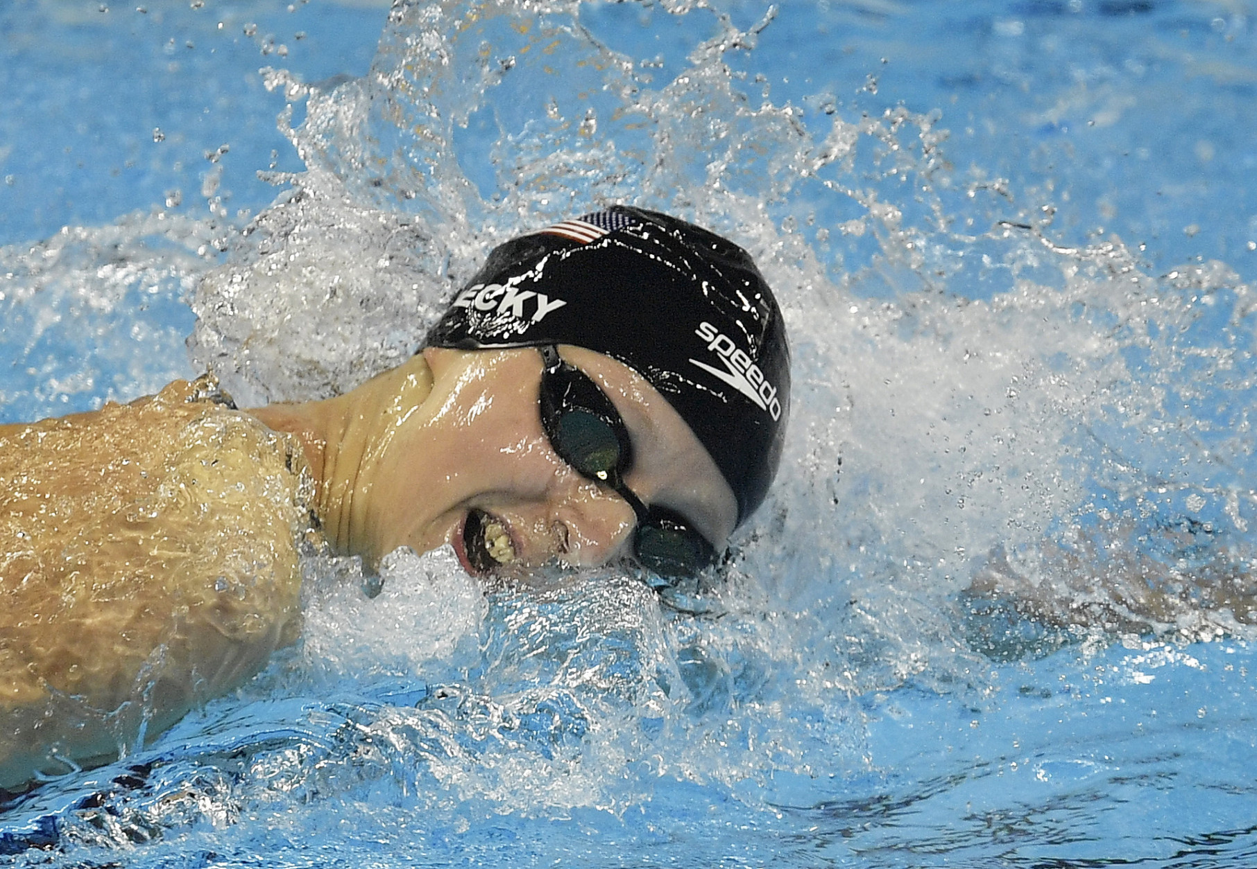 United States' Katie Ledecky competes in the women's 400-meter freestyle final during the swimming competitions at the 2016 Summer Olympics, Sunday, Aug. 7, 2016, in Rio de Janeiro, Brazil. (AP Photo/Martin Meissner)