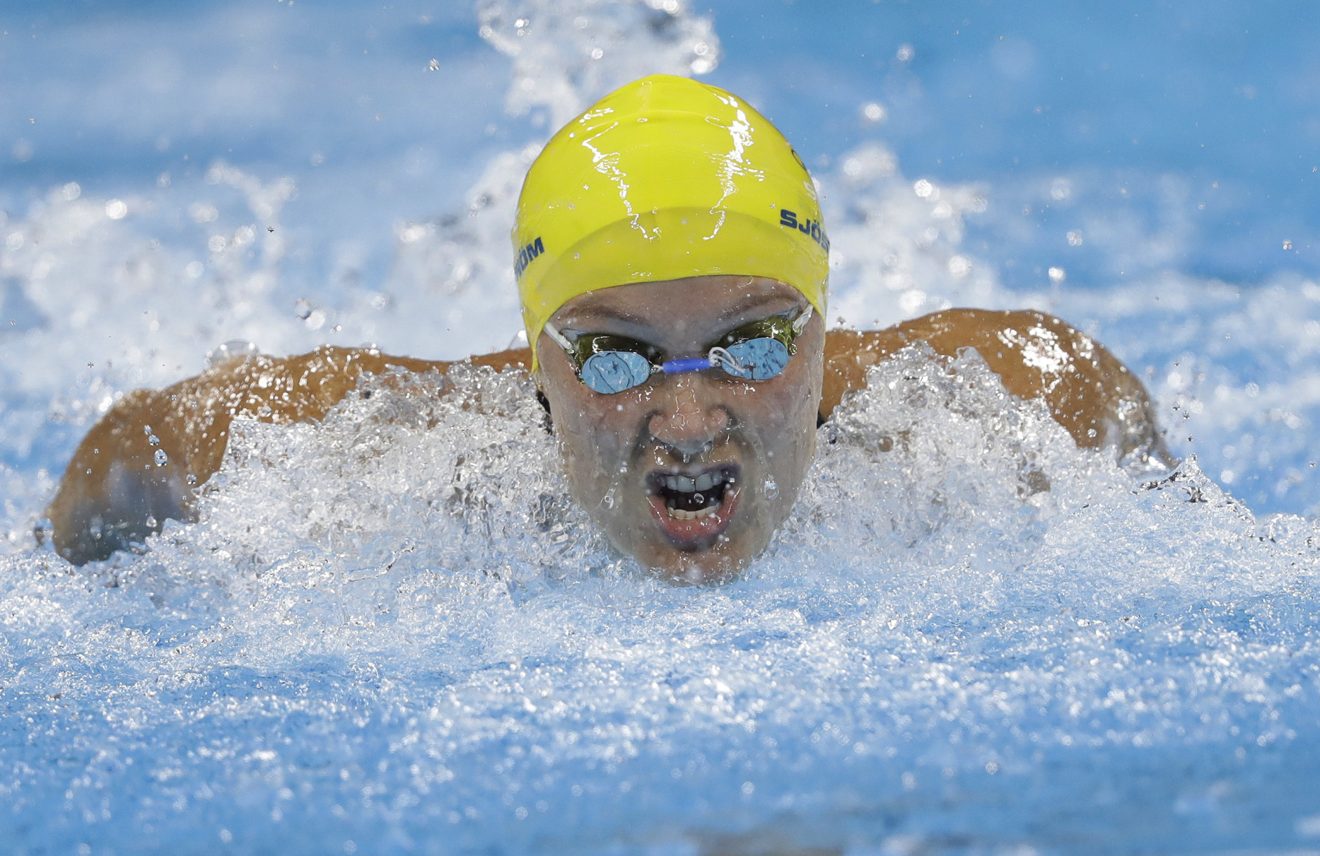 Sweden's Sarah Sjostrom competes in a women's 100m butterfly heat during the swimming competitions at the 2016 Summer Olympics, Saturday, Aug. 6, 2016, in Rio de Janeiro, Brazil. (AP Photo/Michael Sohn)