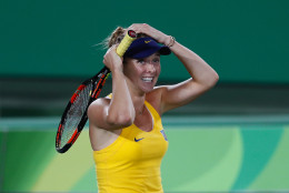 Ukraine's Elina Svitolina celebrates defeating Serena Williams of the United States in the women's tennis competition at the 2016 Summer Olympics in Rio de Janeiro, Brazil, Tuesday, Aug. 9, 2016. Svitolina defeated Williams in two sets. (AP Photo/Vadim Ghirda)