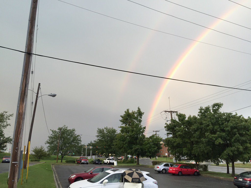 Another view of the twin rainbows in Crofton. Just missed catching the lightning in the shot, too. (WTOP/John Domen)